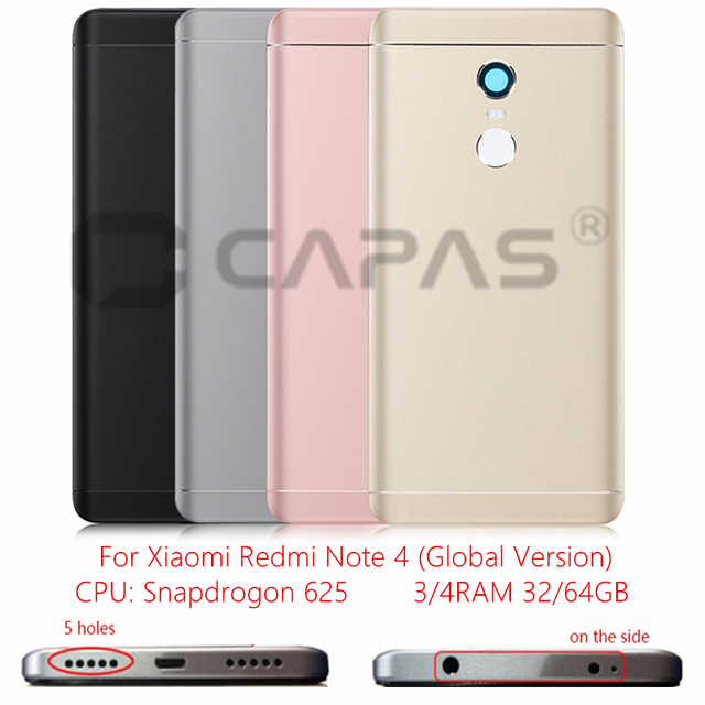 For Xiaomi Redmi Note 4 Global Version Metal Back Battery Housing Cover Redmi Note4 back Cover Snapdragon 625 Replacement Parts