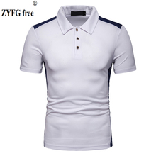 2019 casual top mens POLO shirt stitching turn-down collar cotton polyester blended shirts slim fit popular blouse