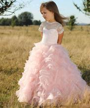 Sheer Neck Lace Applique Ruffles Tiered Short Sleeve Birthday Pageant Wedding Party Ball Gowns 2018 Princess Flower Girl Dresses cute pink lace flower girl dresses sheer sleeves appliqued baby girl dress tiered toddler pageant birthday dress for party gowns