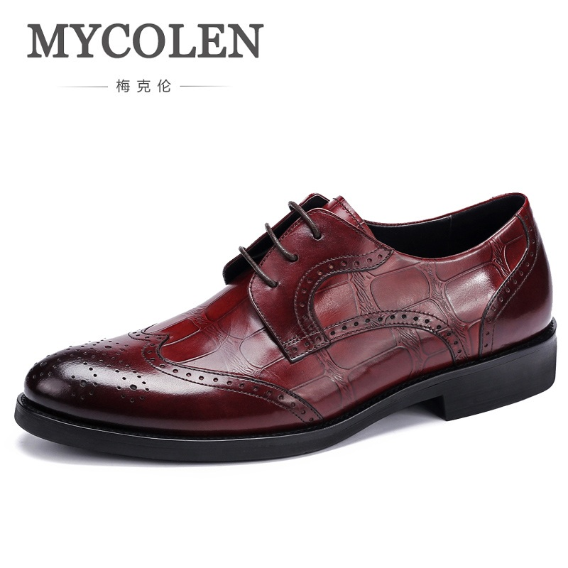 MYCOLEN Luxury Brand Fashion Shoes Men Business Formal Dress Shoes Handmade High Quality Genuine Leather Men Shoes Ayakkabi fashion men shoes genuine leather men casual shoes brand luxury men s business classic gentleman shoes handmade high quality