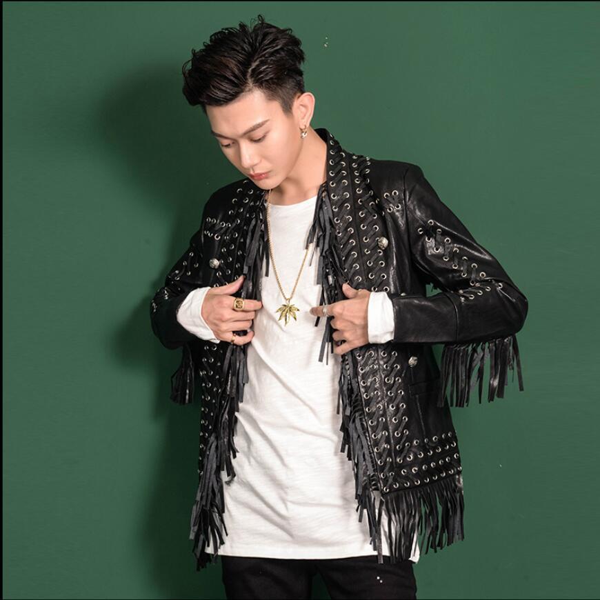 M-3XL automne et hiver gland veste en cuir hommes personnalité ceinture design veste cheveux styliste discothèque Slim chanteur vestes
