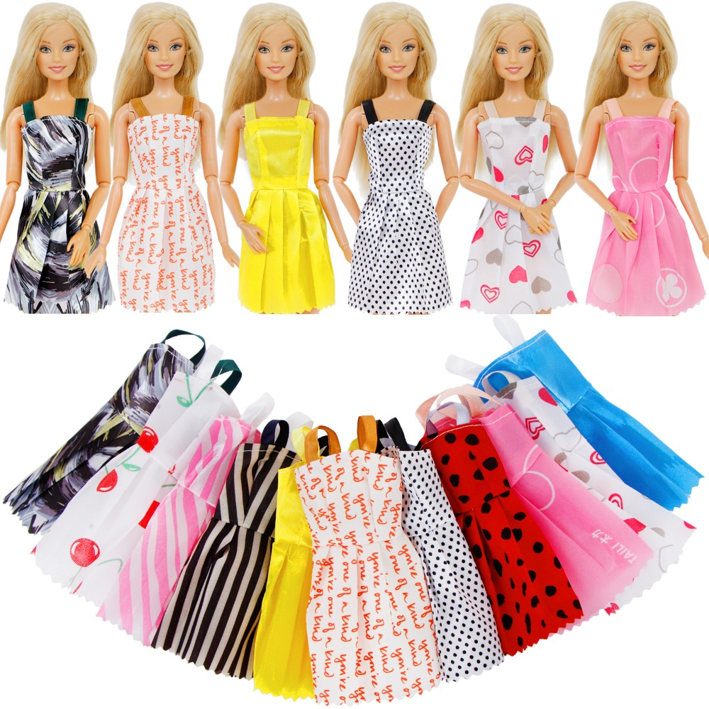 Random 12 Pcs Mix Sorts Beautiful Handmade Party Dress Fashion Clothes For Barbie Doll 12'' Kids Toy Play House Dressing Up
