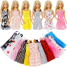 Random 12 Pcs Mix Sorts Beautiful Handmade Party Dress Fashion Clothes For Barbie Doll 12 Kids