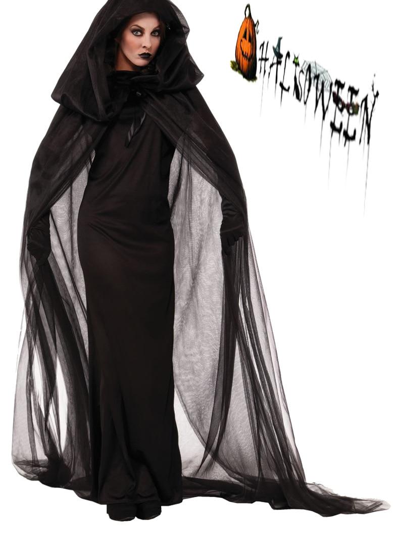 Black Mesh Long Skirt Witch Costume Black Bride Angel -7116