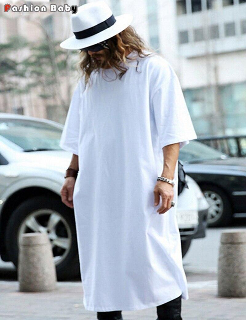 de41230cec9 Loose Large Cotton Extra Long T-shirt Men Luxury Fashion Half Sleeve Brand Designer  Casual Extended Tee Shirts White Black