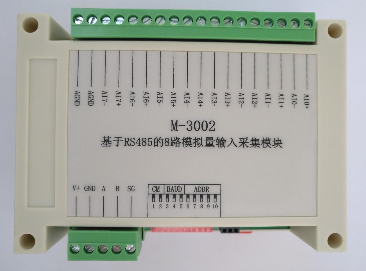 RS485 Voltage and Current Acquisition Module 8 Ways, 16 Bit Analog 4~ 20mA-0 ~10V Input 0 20ma 4 20ma 0 5v 0 10v analog input high precision 16 bit acquisition module modbus