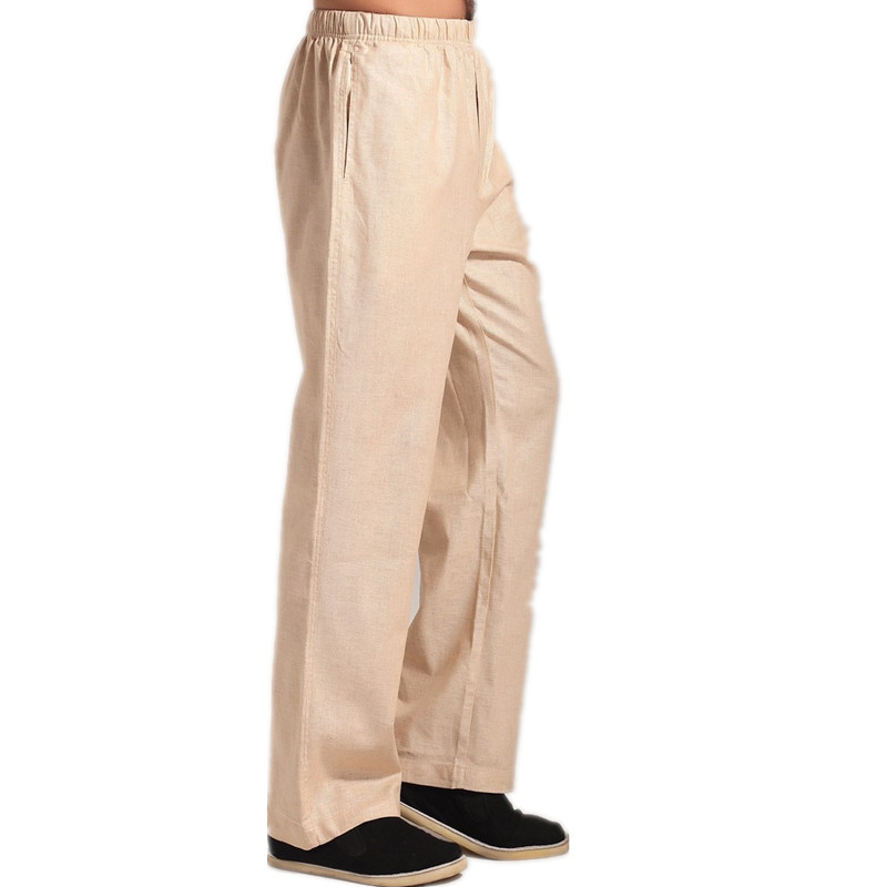 New Arrival Beige Chinese Mens Kung Fu Trousers Cotton Linen Pants Wu Shu Clothing Size S M L XL XXL XXXL MN003