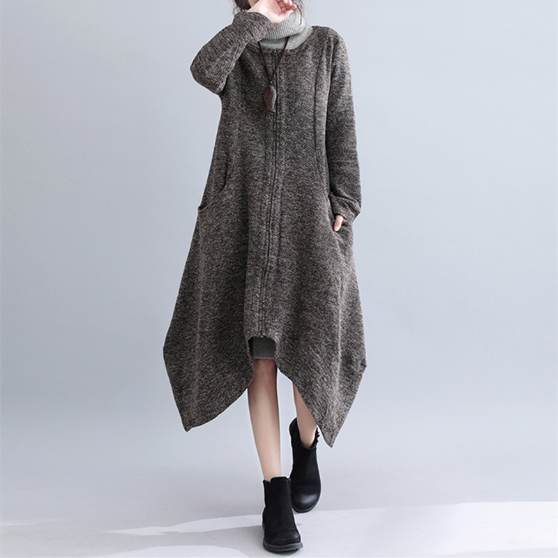 Johnature 2018 Winter Knitting Loose Long Irregular Joker Women   Trench   Coats New Solid Color Zippers Thin Korean Female Coats
