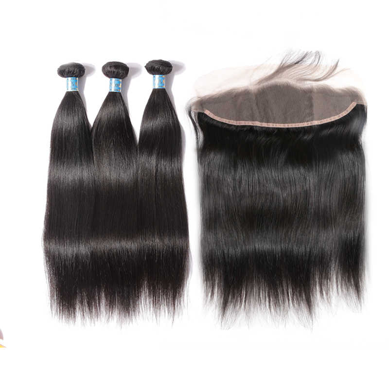 Перуанские Виргинские пучки волос с закрытием шнурка прямые человеческие волосы Али королева пучки волос с фронтальной натуральный черный цвет