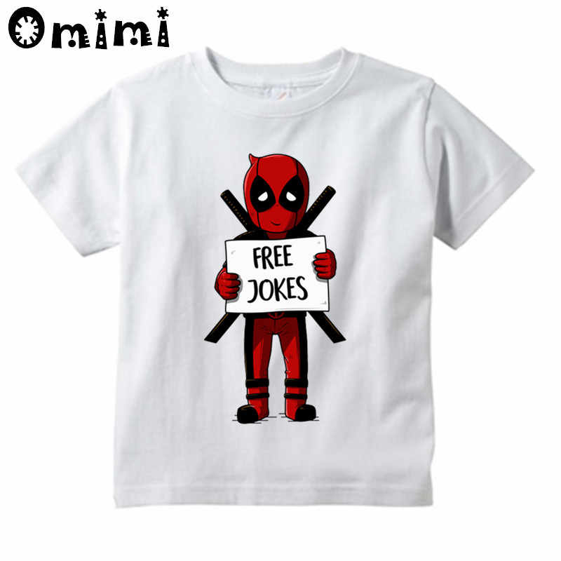 3ccd3bd9 Boys and Girls Deadpool/Punch Free Jokes Design T Shirt Children Great  Casual Short Sleeve