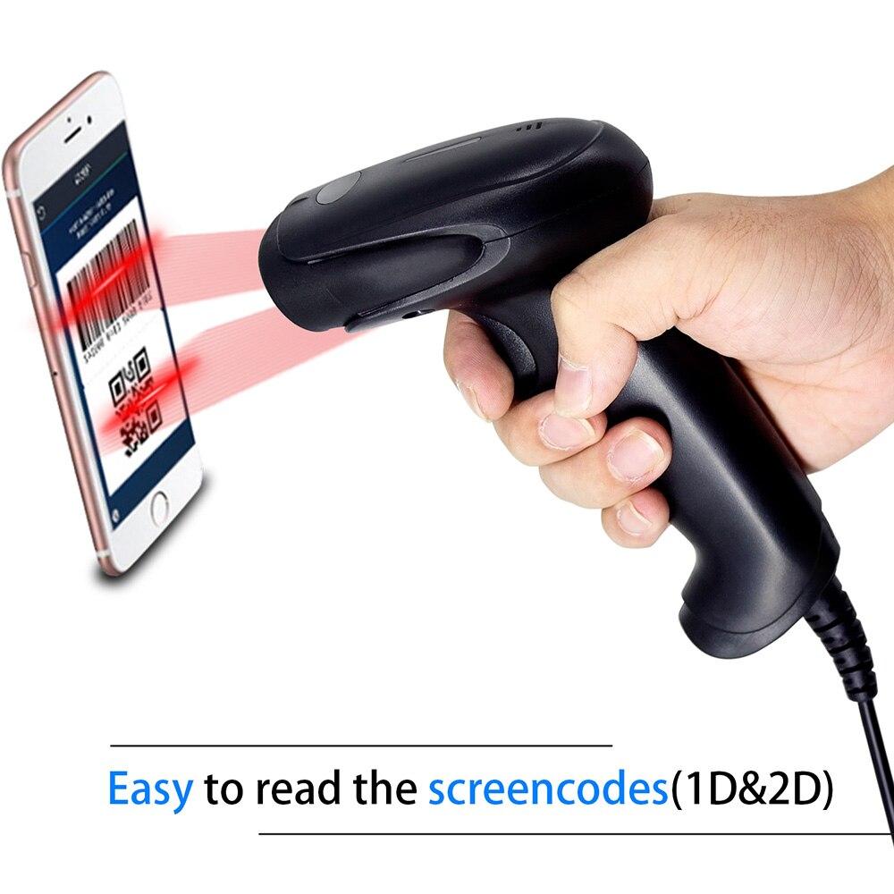 2D Barcode Scanner, Symcode 1D/2D CMOS Hand Wired USB2.0 Barcode Reader, Arbeits für Bildschirm Codes