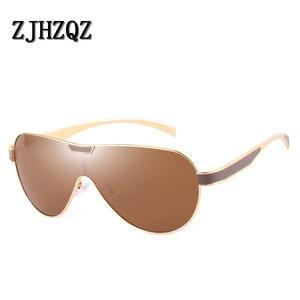 Image 5 - ZJHZQZ Übergroßen Pilot Polarisierte Sonnenbrille Siamese Film Avaiation Braun Schwarz Silber Männer Brillen Frauen Gläser UV400 Brillen