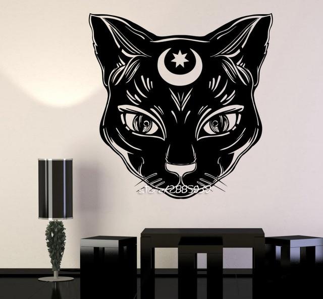 Czarny Kot Księżyc Naklejki ścienne Winylowe Czarownica Magia Czary