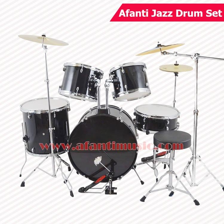 5 drums 3 crash cymbals black color afanti music jazz drum set drum kit ajds 425 in drum. Black Bedroom Furniture Sets. Home Design Ideas