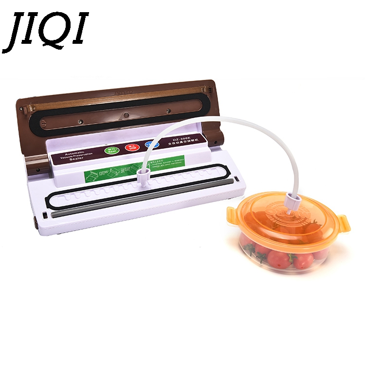JIQI Food Vacuum Sealer Automatic Vacuum wet and dry Sealing Packer electric Plastic Packing Machine fruits saver with Free Bags jiqi 100w portable pro smart mini food automatic sealing machine one button vacuum sealer for seal pack opp pe plastic bag