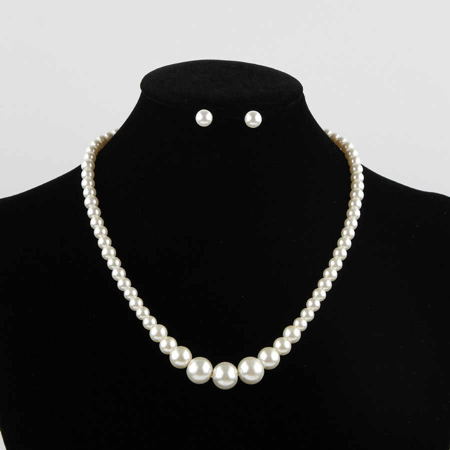 Big Size African Jewelry Set White Beads Necklace Earrings Set Party Jewelry Simulated-pearl Parure Bijoux Femme Mariage Gifts