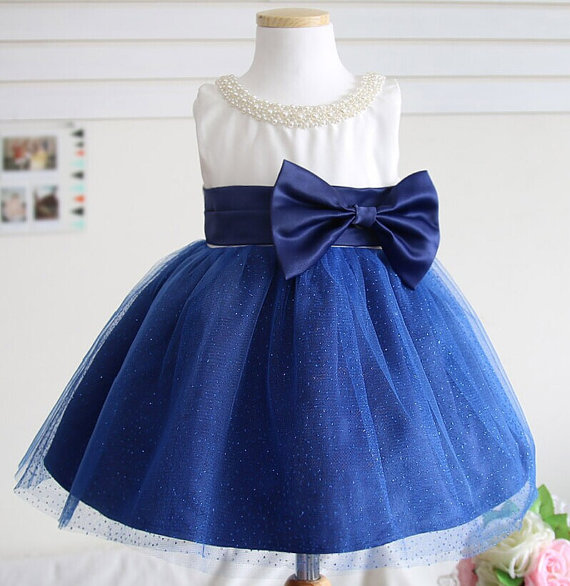 Cute dark blue and white baby dress with tulle ball gown pearls scoop neck toddler pageant dresses 1st birthday party outfits cute navy blue tulle satin formal birthday party dresses o neck short sleeve sequins appliques and butterfly baby girl dress