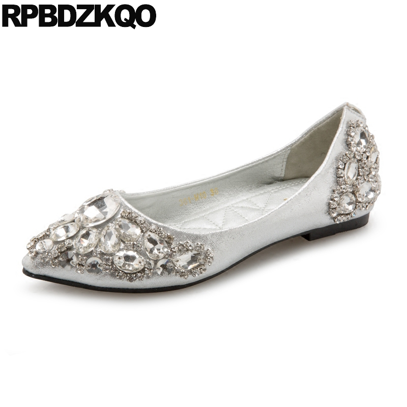 Ladies Square Toe Glitter Pointed Bling Flats China Rhinestone Silver Slip On Sparkling Shoes Chinese Beautiful Crystal Fashion ladies beautiful flats shoes black female large size casual fur glitter women slip on comfy 10 winter bling drop shipping latest