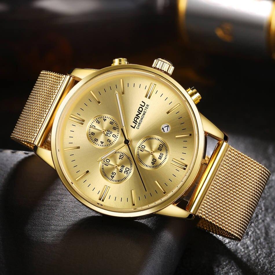 LIANDU Сталь Бизнес часы мужской часы модели кварцевые часы три круглый циферблат Элитный бренд известный хронограф для мужской подарок 2018