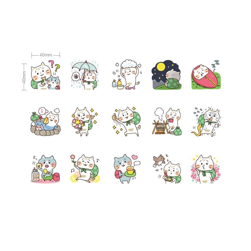 Купить с кэшбэком 45pcs/box Lovely Cat Travel Diary Paper Label Sealing Adhesive Crafts And Scrapbooking Decorative DIY Stickers
