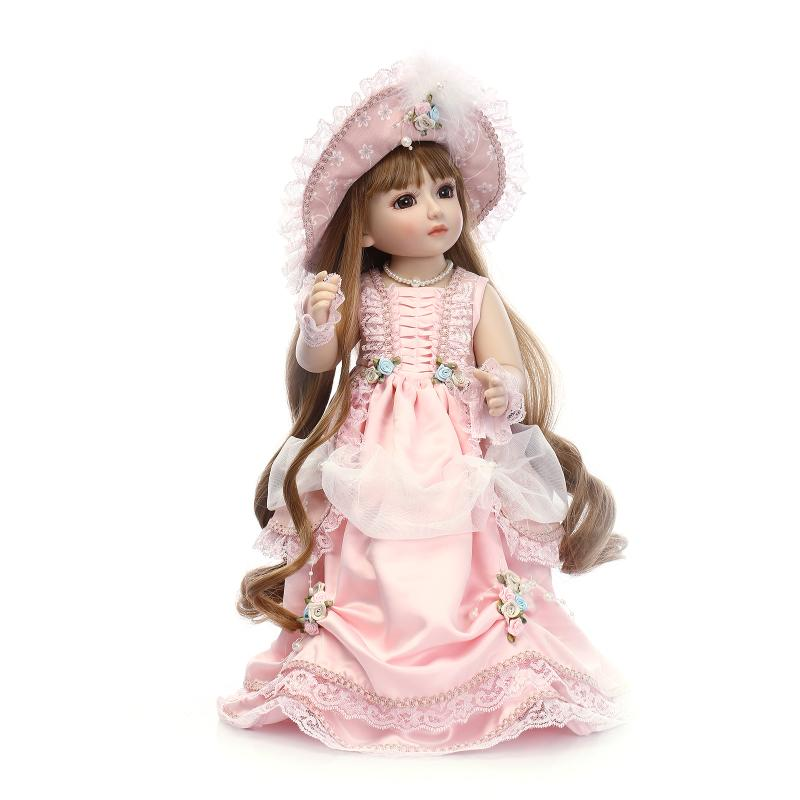long hair hat 45cm BJD Doll bride SD Dolls Sweet Princess Girl With Outfit Elegant Dress Wigs Beautiful Toys Wedding decorations high quality wedding dress doll 45cm 55cm beautiful elegant pink feather dhl or fedex page 3