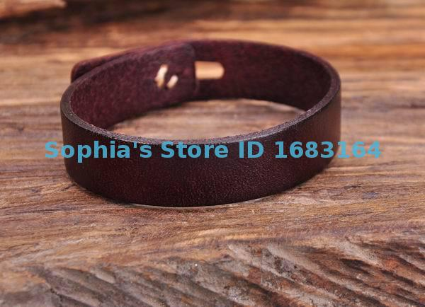 G144 Brown Cute Retro Buttons Plain Leather Wristband Bracelet Cuff Mens