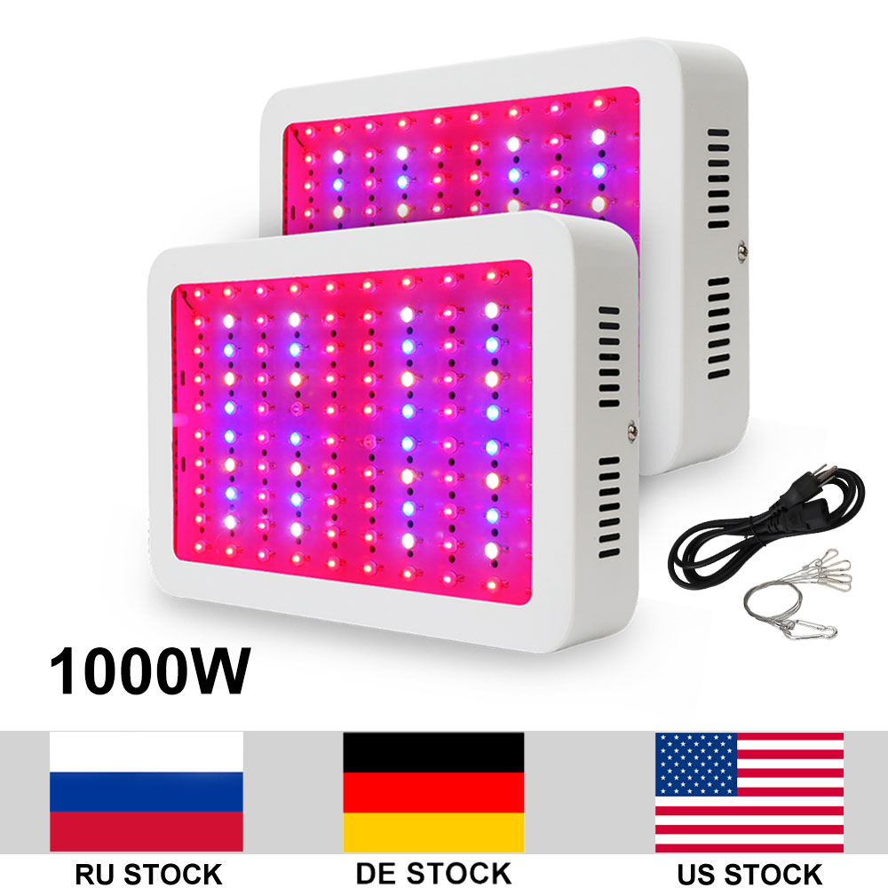 2pcs/lot 1000W Double Chips LED Growing Lamp AC85 265V Full Spectrum Grow Light LED For Indoor Plants Growth