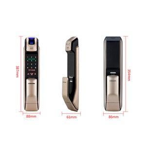 Image 4 - SAMSUNG czytnik linii papilarnych PUSH PULL cyfrowy zamek do drzwi z aplikacją WIFI Bluetooth SHS DP728 angielska wersja Big wpuszczany AML320