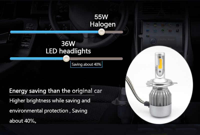 C6 H7 H4 LED H13 H11 H1 9005 9006 HB3 H3 COB 72 W 8000LM רכב פנסי הנורה ראש מנורה ערפל אור לבן 6000 K 3000 K צהוב