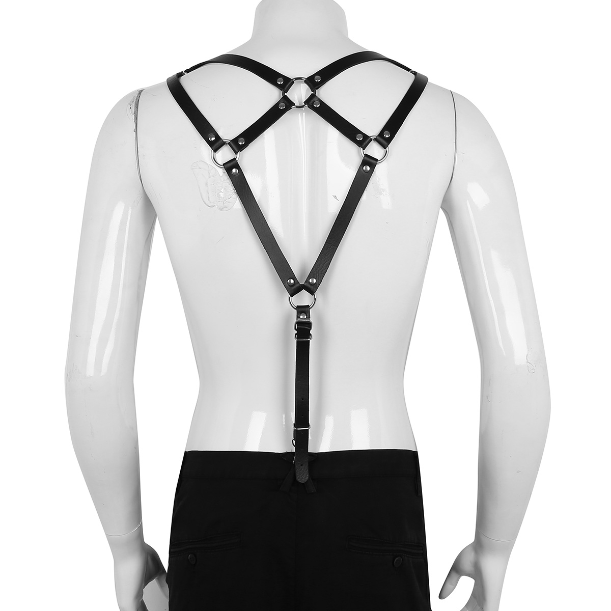 Men Faux Leather Harness Adjustable Body Chest Waist Belts Punk Cospaly Clubwear