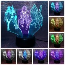 Vingadores Deadpool Figuras Modelo 3D Nightlight LED Luz Cor Misturada Marvel Wolverine Spider-man Figura Brinquedos(China)