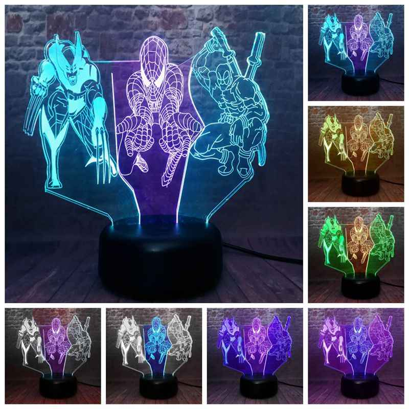 Vingadores Deadpool Figuras Modelo 3D Nightlight LED Luz Cor Misturada Marvel Wolverine Spider-man Figura Brinquedos