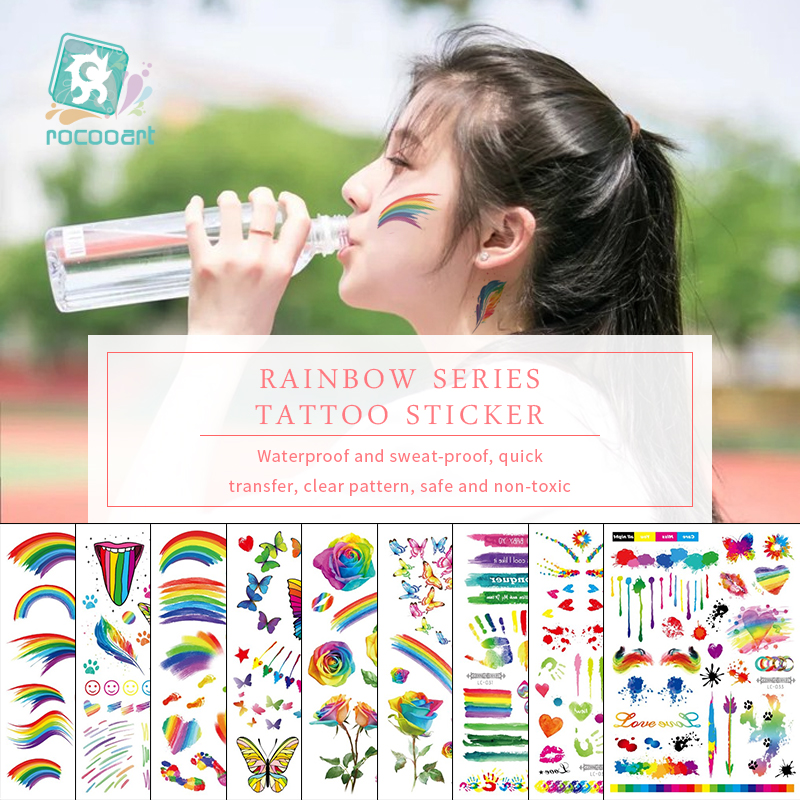 Rocooart Rainbow Tattoo Stickers Shimmer Flowers Taty Colorful Butterfly Fake Feathers Temporary