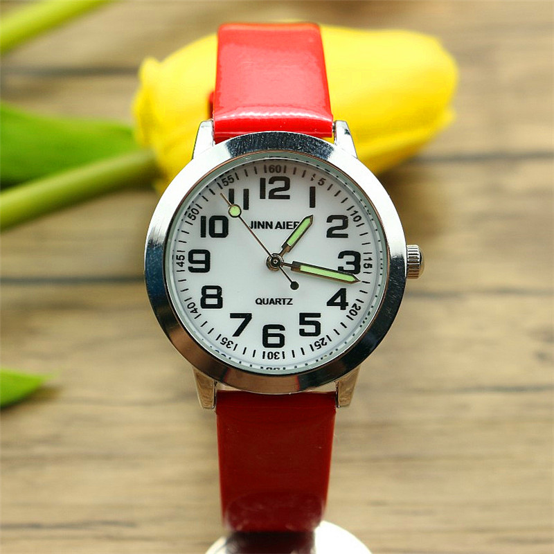 Free Shipping Kids Simple Face Quartz Watch Little Boys And Girls Learn To Time Casual Leather Watch Birthday Xmas Gift Clock