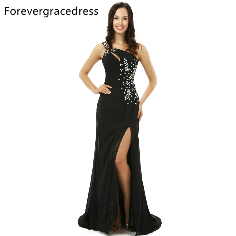 Forevergracedress Real Pictures Gorgeous Black   Prom     Dress   High Quality New Arrival Crystals Long Formal Party Gown Plus Size