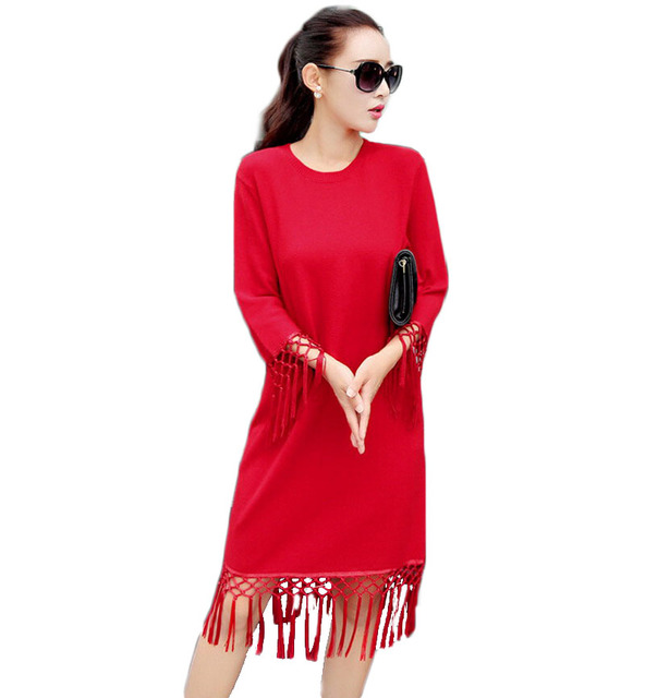 Aliexpress.com : Buy Ladies Red Sweater and Pullover Dress with ...