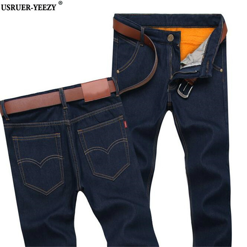 USRUER-YEEZY Mens Jeans Plus Cashmere Brand Jeans Autumn Winter Big Size 28-44 Pants Denim Casual Jean Men Pants Jean Slim Homme men jeans 2017 autumn winter mens denim jean blue cotton pants men denim trousers slim fit jeans male plus size high quality