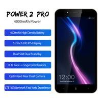LEAGOO POWER 2 PRO Mobile Phone 5.2HD 4000mAh RAM 2GB ROM 16GB Android 8.1 MT6739 Quad Core Dual SIM Fingerprint 4G Smartphone