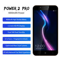 "LEAGOO POWER 2 PRO Mobile Phone 5.2""HD 4000mAh RAM 2GB ROM 16GB Android 8.1 MT6739 Quad Core Dual SIM Fingerprint 4G Smartphone"