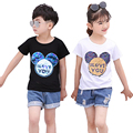 Summer cotton baby tee girls tee shirt kids basic Tops Children t shirt mickey switchable sequin magic discoloration 2 to 7 yrs