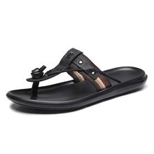 fdf19ba75 Flip flops praia chinelos de verão masculinos dos homens genuíno couro de  peixe fora Não-escorregar sandálias tendência de moda .