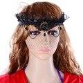 Con estilo de la bola de mascarada reina malvada corona negro velo de malla Halloween diadema