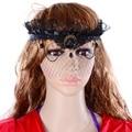 Elegante baile de máscaras de rainha coroa preto de malha de cabeça Halloween