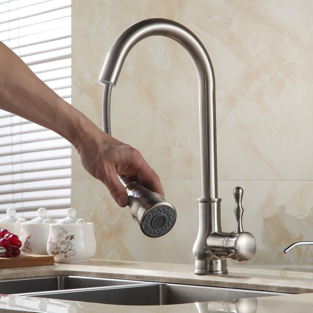 Kitchen Faucet Brass Brushed Nickel High Arch Kitchen Sink Faucet Pull Out  Rotation Spray Mixer Tap Torneira Cozinha GYD 7117 In Kitchen Faucets From  Home ...