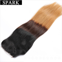 "Spark Ombre Color 1B/4/27 3 Tone Brazilian Straight Hair Swiss Lace Closure 4""x 4"" Free Part Remy Human Hair Bundles Closure"