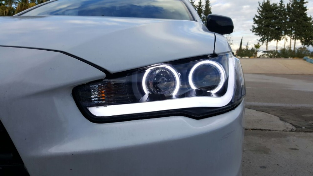 Free shipping for China VLAND car Head lamp for 2008 2012 2015 LANCER LED headlight angel eyes  H7 Xenon lamp free shipping car refitting dvd frame dash cd panel for buick excelle 2008 china facia install plate ca4034