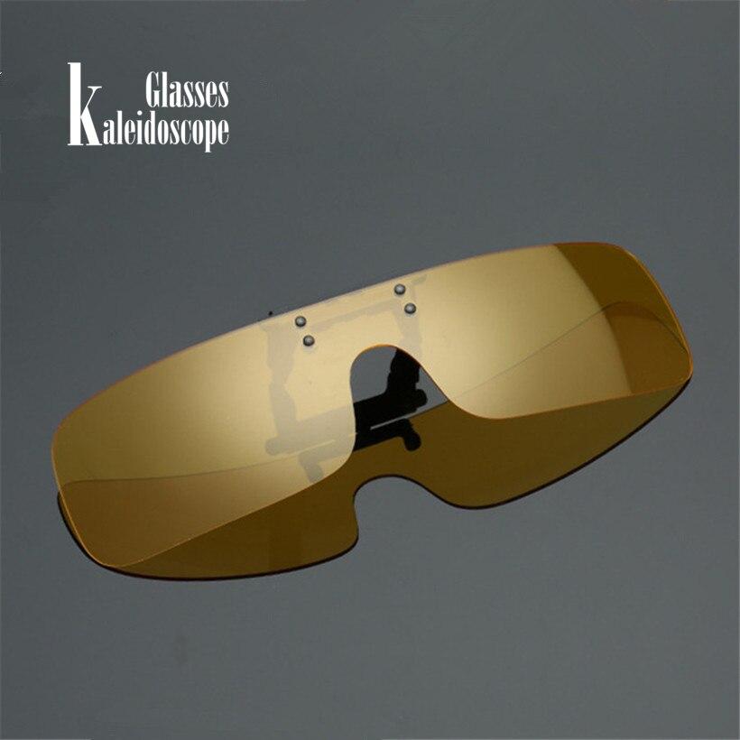Kaleidoscope Glasses Men Polarized Clip on Sunglasses Classic Shield Glasses Clips Night Vision Driving Flip Up Glasses