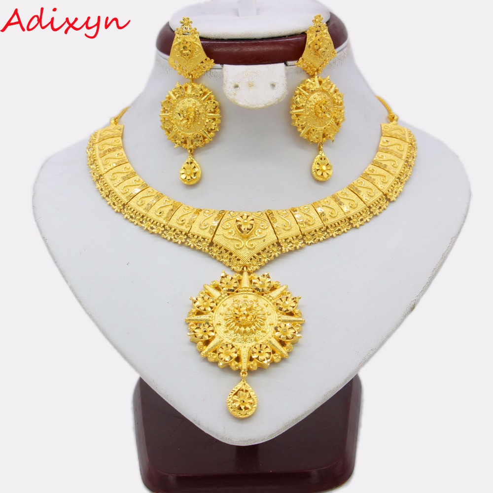 Adixyn Trendy 45cm Chokers Necklace Earring Sets For Women Gold Color Engagement Arab Ethiopian Middle East