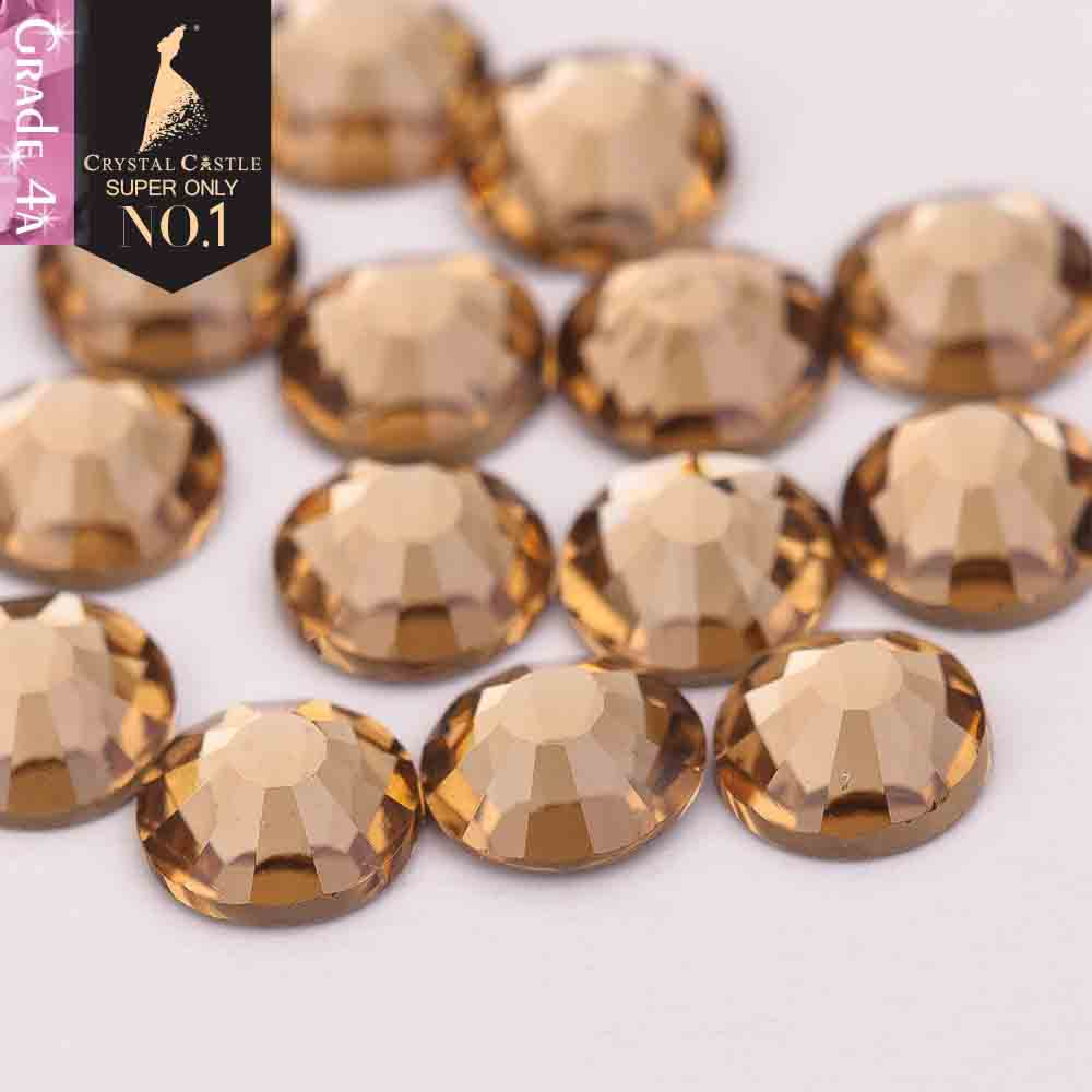 Crystal Castle 4A rhinestone light color topaz non hot fix crystal none glue no hotfix strass rhinestones for 3D nail art