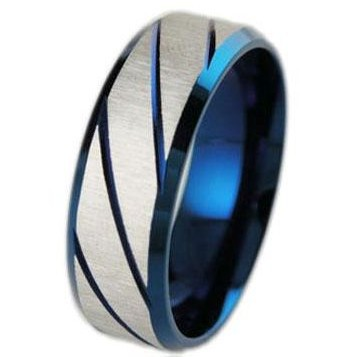 TrustyLan Blue Stainless Steel Male Ring Fashion Vintage Anniversary